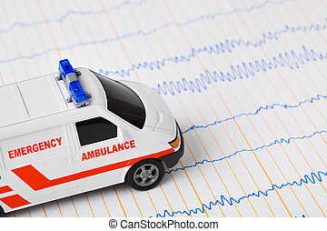 Toy ambulance car on ecg
