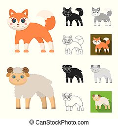 Toy animals cartoon, black, flat, monochrome, outline icons in set collection for design. Bird, predator and herbivore vector symbol stock web illustration.