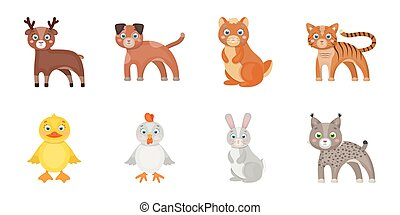 Toy animals icons in set collection for design. Bird, predator and herbivore vector symbol stock web illustration.