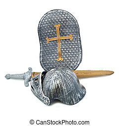 Toy armour of the knight: a board, a sword, a helmet