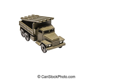 Toy army truck isolated on a white