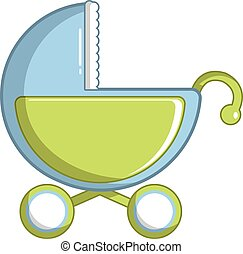 Toy baby carriage icon, cartoon style