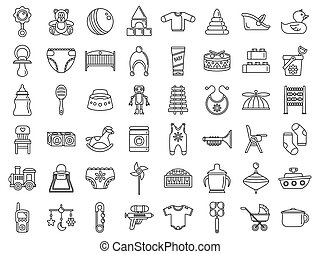 Toy baby items icon set, outline style
