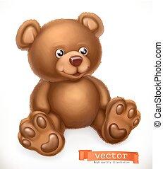 Toy bear, 3d vector icon