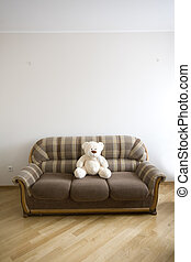toy-bear, de madera, sofá, -, moden, lujo, interior,...
