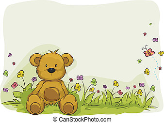 Toy Bear Foliage Background - Illustration of a Toy Bear...