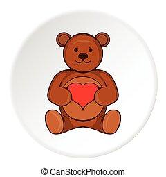 Toy bear icon, cartoon style