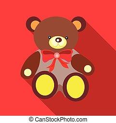 Toy bear icon, flat style