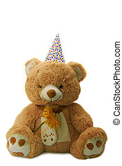 toy bear with birthday hat