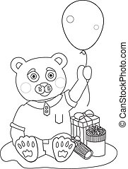 Toy bear with present boxes and baloon. Coloring page - Toy...