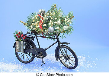toy bicycle with christmas decorations