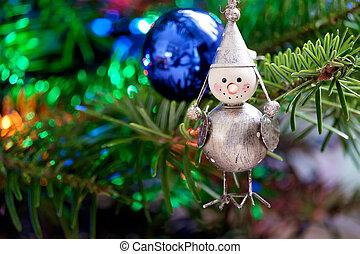 Toy Bird on a Christmas Tree