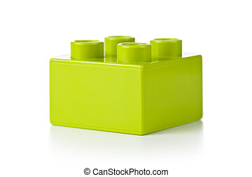 Toy Block - Plastic toy block, green color, on white ...