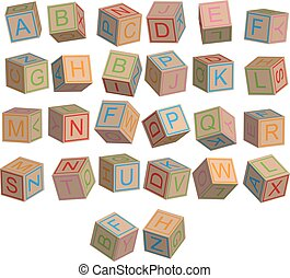 Toy blocks alphabet in 3D disorder