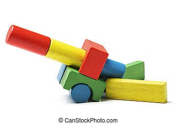 toy blocks cannon, multicolor artillery wooden gun military...