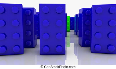 Toy blocks in blue and green