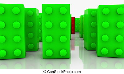 Toy blocks in green and red