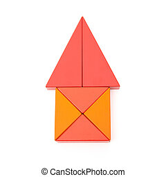 toy blocks shape like a house on white with clipping path