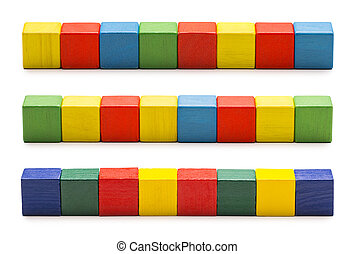 Toy Blocks, Wood Cube Bricks, Row of Multicolor Cubic Boxes...