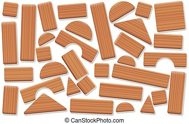 Toy Blocks Wooden Building Items Loosely Arranged - Wooden...