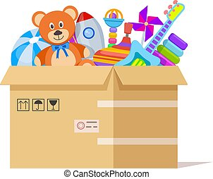 Toy box. Donate toys, charity kids support. Volunteer donations for poor children in cardboard parcel. Endowing child vector illustration