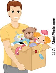 Toy Box - Illustration of a Man Carrying a Heavy Box Filled...