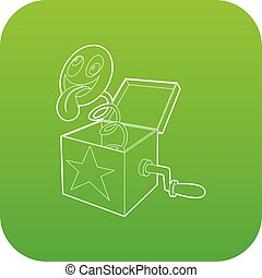Toy box in spring icon green vector