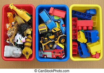 toy boxes - Collection of toys in boxes