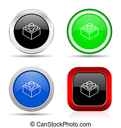 Toy brick red, blue, green and black web glossy icon set in 4 options