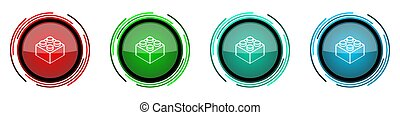 Toy brick round glossy vector icons, set of buttons for webdesign, internet and mobile phone applications in four colors options isolated on white background