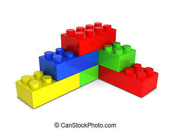 Toy bricks. 3d illustration isolated on white background