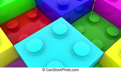 Toy bricks in various colors