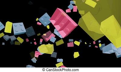 Toy bricks on black in three colors