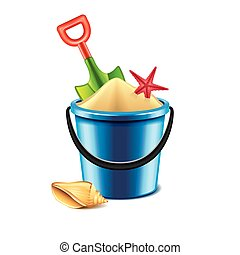 Toy bucket and spade isolated on white vector - Toy bucket...