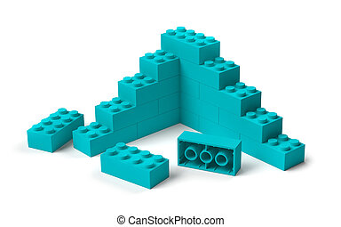 Toy building blocks 3D construction start
