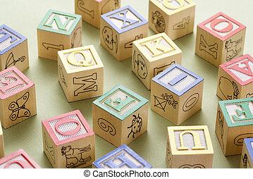 Toy building blocks. - Alphabet building block toys.