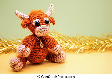 Toy bull. Symbol of the new year 2021.