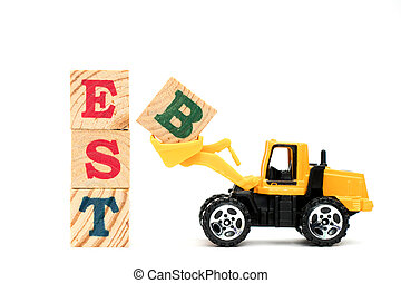 Toy bulldozer hold letter block B to complete word best on white background