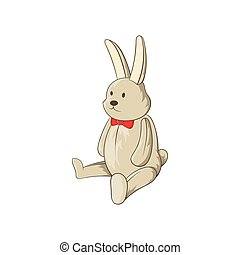 Toy bunny icon, cartoon style