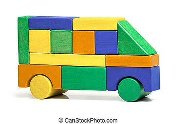 Toy Bus, Children Simple Jigsaw, Colors Wooden Car Isolated White