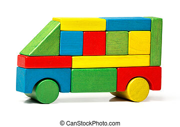 toy bus, multicolor car wooden blocks, transport over white background