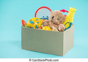 toy., caixa donation, com, desejado, itens, para, pobre