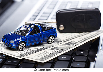 Toy car and banknotes