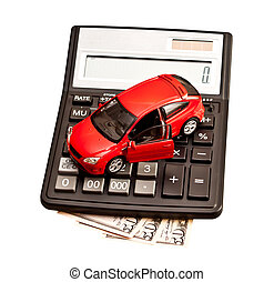 Toy car and calculator over white. Concept for buying, renting, insurance, fuel, service and repair costs
