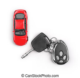 Toy car and keys isolated on white background