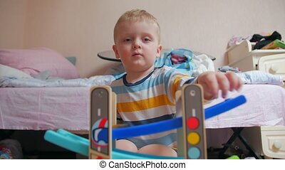 Toy car boy on potty childrens room home interior
