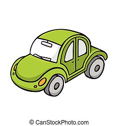 Toy car, bright vector children illustration isolated on white
