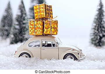 toy car delivering Christmas gifts - retro toy car...