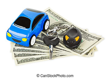 Toy car, keys and money