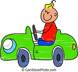 toy car - little boy playing in his pedal car - toddler art...